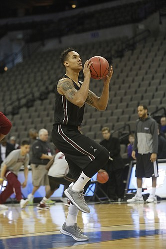 New Mexico State senior forward Remi Barry participates in a NCAA second-round practice at the CenturyLink Center in Omaha, NE., Thursday, March 19, 2015. New Mexico State will face the Jayhawks Friday in a second-round NCAA Tournament game.