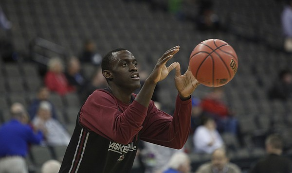 New Mexico State freshman forward Pascal Siakam (43) warms up during a early practice session as New Mexico State took to the floor in Omaha, for a short practice session on Friday 19, 2015..
