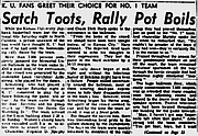 Headline and story from the front page of the March 25, 1957, Lawrence Daily Journal-World on Louis Armstrong's performance at a Kansas University pep rally following the men's baskteball team's loss in the national championship game on March 23.