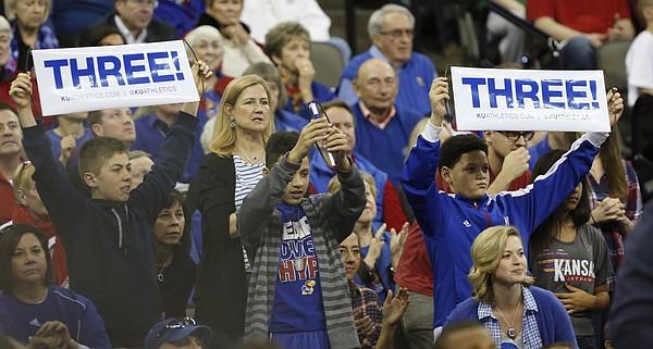 Jayhawk fans watch the Jayhawks second-round NCAA tournament game against New Mexico State Friday, March 20, 2015 at the CenturyLink Center, Omaha, Neb.