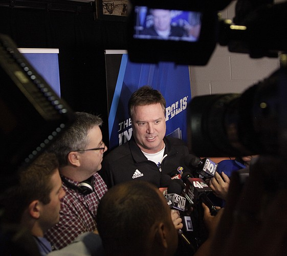 Kansas coach Bill Self talks to the media outside the Jayhawks' locker-room Saturday, March 21, 2015 at the CenturyLink Center, Omaha, Neb.