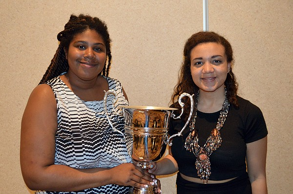 KU debaters Jyleesa Hampton, left, and Quaram Robinson, who finished second overall March 23, 2015, at the Cross Examination Debate Association National Tournament.