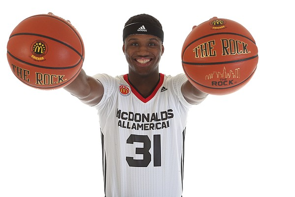 Cleveland prep forward Carlton Bragg — who has committed to Kansas University — poses for a photo prior to Wednesday's McDonald's All-American Game in Chicago.