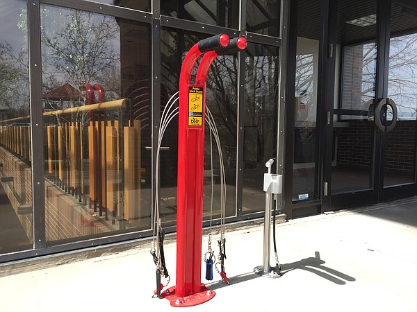A new bike repair station is shown near the east entrance of City Hall.