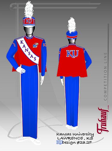 A sketch of the new uniforms the KU Marching Jayhawks plan to begin wearing in fall 2015, one of three styles provided by Fruhauf Uniforms Inc.