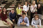 The 2005 Journal-World Academic All-Stars are, clockwise from bottom center, Nat Wells, Lawrence High School; Lynne Stahl, Free State High School; Shawn Turner and Jennifer Harness, Ottawa High School; Flora Jiang, Free State; Chelsey Forge, Oskaloosa High School; Marie Hull, Free State; and Kristin Lynch, Baldwin High School. Not pictured are Emma Willis, Oskaloosa, and Hunter Samuels, Tonganoxie High School.
