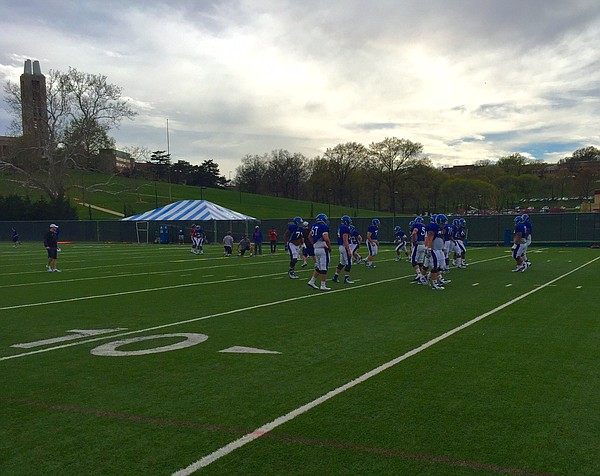 The Kansas University football team put another spring practice in the books on Tuesday. That's No. 9 of 15 for the Jayhawks, who will wrap up spring ball with the annual spring game on April 25.