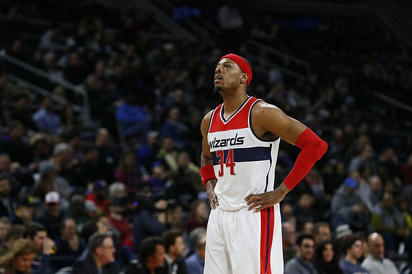 Washington Wizards forward Paul Pierce plays against the Detroit Pistons in the first half of an NBA basketball game in Auburn Hills, Mich., Sunday, Feb. 22, 2015. (AP Photo/Paul Sancya)