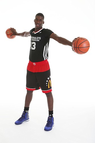 Cheick Diallo, a 6-foot-9 senior center from Our Savior New American High in Centereach, New York, poses for a publicity photo prior to the McDonald's All-American Game. Diallo on Tuesday, April 28, 2015, committed to Kansas University