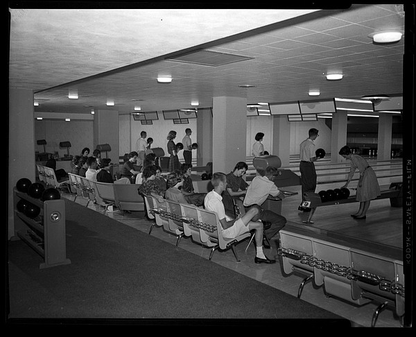 People bowl and socialize at the Jaybowl during the 1950s. Photo courtesy of Spencer Research Library, Kansas University Libraries.