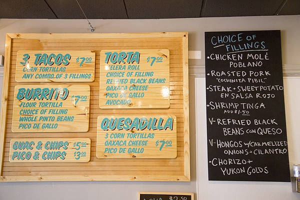 The menu at Taco Zone, 13 E. Eighth St.