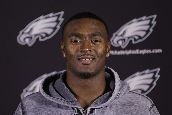 JaCorey Shepherd speaks during a football minicamp media availability Friday, May 8, 2015, at the Philadelphia Eagles' NFL training facility in Philadelphia. (AP Photo/Matt Rourke)