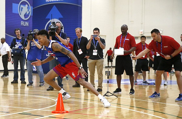Kansas' Kelly Oubre participates in the NBA draft basketball combine Thursday, May 14, 2015, in Chicago. (AP Photo/Charles Rex Arbogast)