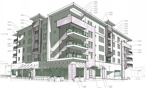 A view of the proposed building from the intersection of Eighth and New Hampshire streets.