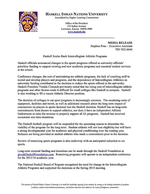 Media Release — Haskell Scales Back Intercollegiate Athletic Programs