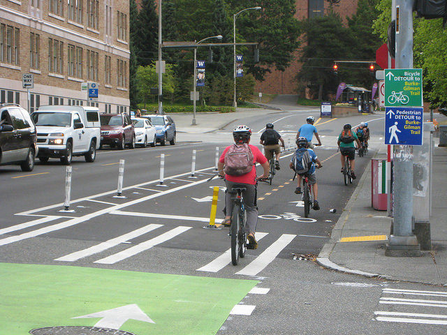 NE 40th Street protected bike lane, Seattle Department of Transportation photo