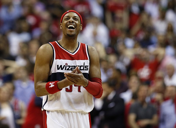 Washington Wizards forward Paul Pierce (34) reacts in the second half of Game 4 of the second round of the NBA basketball playoffs against the Atlanta Hawks, Monday, May 11, 2015, in Washington. The Hawks won 106-101. (AP Photo/Alex Brandon)