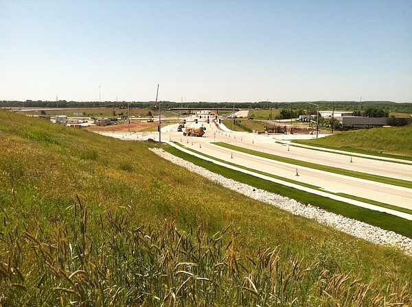 The bridge in the background is part of the pending South Lawrence Trafficway interchange.