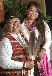 Darla (left) and Mattisa Harrison wed March 25, 2015, at the Douglas County Courthouse. They believe they are the first American Indian couple to legally wed here. Darla is Lakota Sioux and Cheyenne and Arapaho, and Mattisa is Navajo.