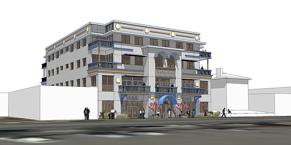 Rendering of concept for proposed multi-use building at 815 Vermont St.