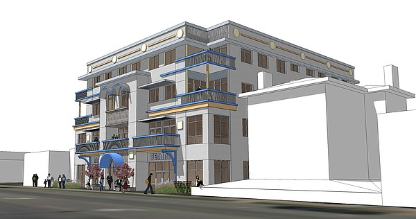 Rendering of concept for proposed multi-use building at 815 Vermont.