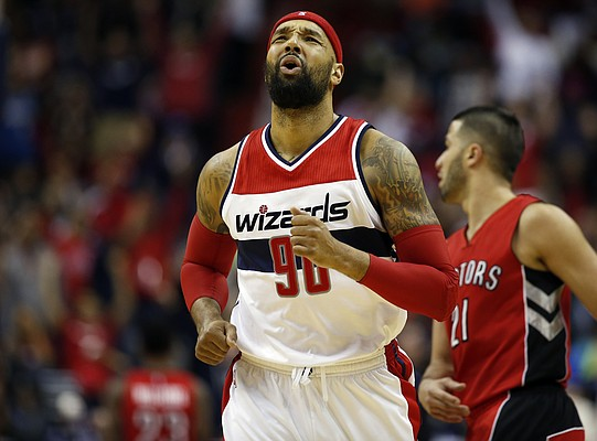 Washington Wizards forward Drew Gooden (90) reacts after a play in the first half of Game 4 of the Eastern Conference semifinal NBA basketball playoff series against the Toronto Raptors, Sunday, April 26, 2015, in Washington. (AP Photo/Alex Brandon)