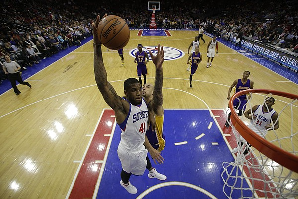 Philadelphia 76ers' Thomas Robinson in action during an NBA basketball game against the Los Angeles Lakers, Monday, March 30, 2015, in Philadelphia. (AP Photo/Matt Slocum)