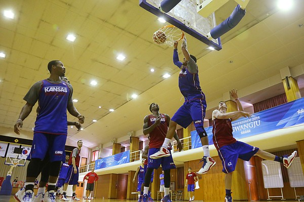 Kansas forward Landen Lucas throws down a dunk during the Team USA practice at Gwangju High School Wed., July 1. Team USA will play an exhibition game against China on Thursday, July 2.