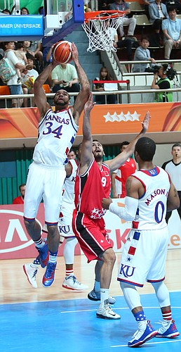 Kansas guard Frank Mason III (0) is fouled in a Team USA game against Turkey Saturday, July 4, in Gwangju, South Korea.