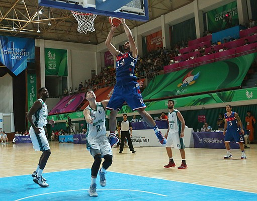 Kansas forward Perry Ellis (34) jumps to the basket for two points in a Team USA 81-72 win over against Brazil Sunday, July 5, in Gwangju, South Korea.