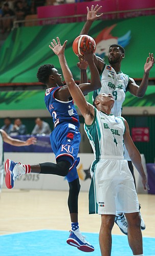 Kansas guard Lagerald Vick (2) drives in the lane in a Team USA 81-72 win over against Brazil Sunday, July 5, in Gwangju, South Korea..