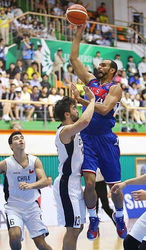 Kansas forward Perry Ellis (34) drives to the basket in a Team USA game against Chile Tuesday, July 7, at the World University Games in South Korea.