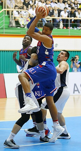 Kansas forward Landen Lucas (33) pulls down one of his 14 rebounds in a Team USA game against Chile Tuesday, July 7, at the World University Games in Muan, South Korea..