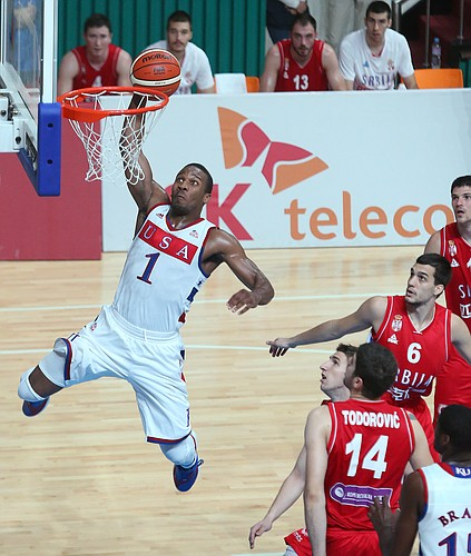 Kansas guard Wayne Selden Jr., puts down one of his two breakaway dunks in there first-half of a Team USA game against Serbia Wednesday, July 8, at the World University Games in South Korea.