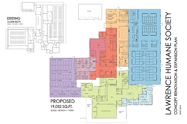 Proposed Lawrence Humane Society expansion and renovation renderings.
