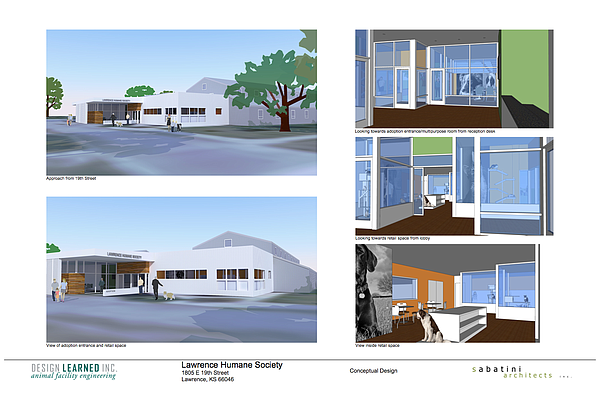 3D renderings of what the Lawrence Humane Society would look like after proposed renovations.