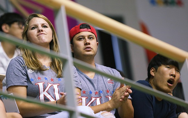 Kansas University graduates Olivia Williamson and John Keenan watch Team USA game against Chile on Tuesday, at the World University Games in South Korea.