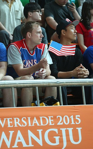 Drew Mountain, a 2008 KU graduate, who now teaches English in Korea, attended the Team USA against Serbia Wednesday, July 8, at the World University Games in South Korea.