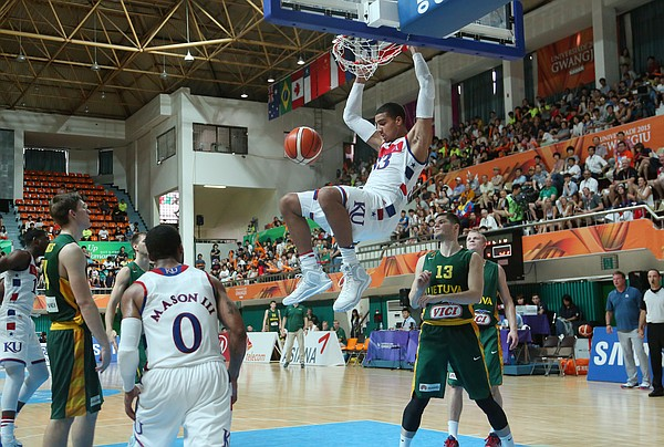 Kansas forward Landen Lucas (33) dunks in the 2nd-half of a 70-48 Team USA quarter-final win over Lithuania Saturday, July 11, at the World University Games in Gwangju, South Korea.