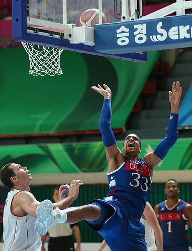 Kansas forward Landen Lucas (33) shoots in a basket in the second half of a Team USA 78-68 semifinal victory over Russia on Sunday, July 12, 2015, at the World University Games in South Korea.