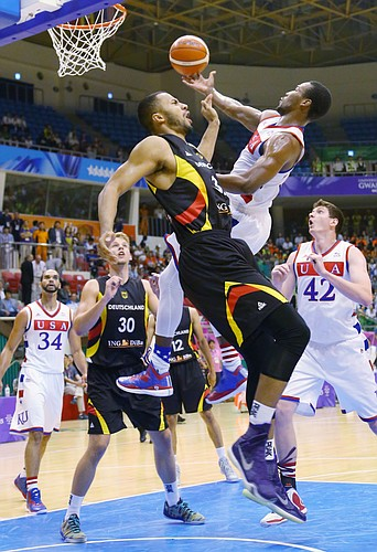 Kansas guard Wayne Selden Jr. (1) drives to the basket in a Team USA gold-medal game against Germany Monday, July 13, at the World University Games in South Korea.