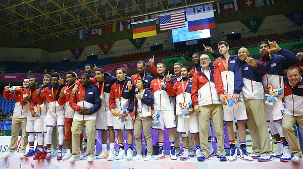 Team USA celebrates with their gold medals after beating Germany in double-overtime Monday, July 13, at the World University Games in South Korea.
