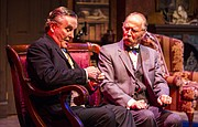 "Sherlock Holmes, left, portrayed by Robert Brand, and Dr. Watson, portrayed by Michael Rapport, discuss clues during a dress rehearsal for the upcoming Kansas Repertory Theatre production of ""Sherlock&squot;s Last Case"" on Tuesday evening at Crafton-Preyer Theatre in Murphy Hall. The show opens at 7:30 p.m. Friday."