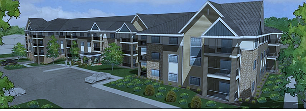 A rendering of a proposed multimillion dollar senior living complex in West Lawrence.