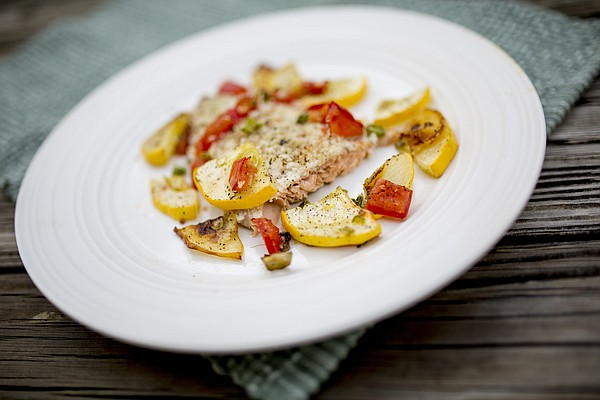 Panko-Encrusted Salmon with Summer Vegetables