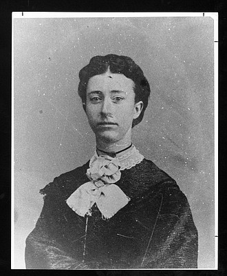 Flora Richardson, valedictorian of Kansas University's first graduating class. The first commencement took place in 1873, and four students — Richardson plus three men — earned degrees.