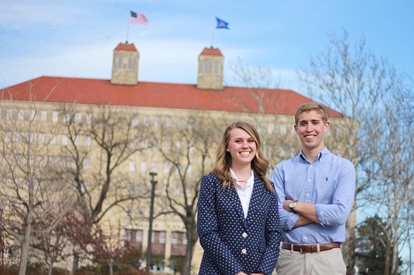 Jessie Pringle and Zach George, the 2015-2016 Kansas University student body president and vice president.