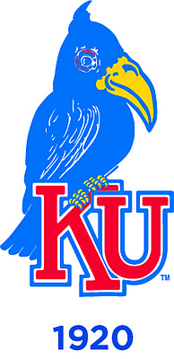 "The 1920 Jayhawk. A more somber bird, perched on the letters ""KU."""