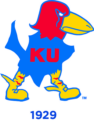 The 1929 Jayhawk. Forrest O. Calvin drew this grim-faced Jayhawk, with vicious talons.