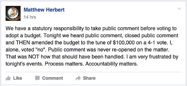 Screenshot from the Facebook page for Lawrence City Commissioner Matthew Herbert.